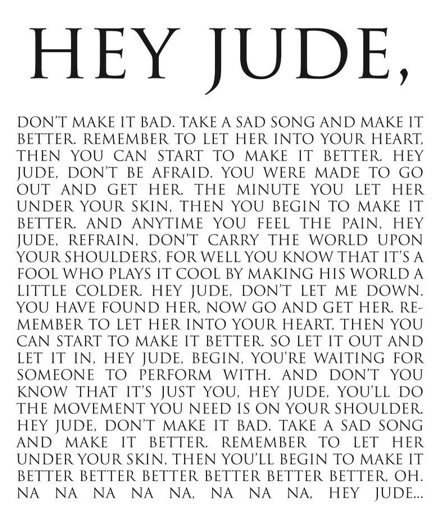 Hey jude lyrics