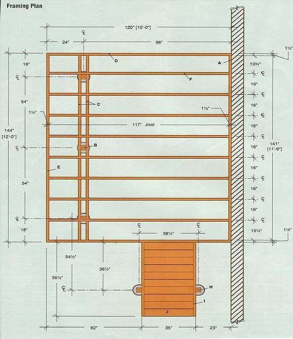 Basic 12 X10 Deck Framing Plan Deck Framing Deck Design Plans Wood Deck Plans