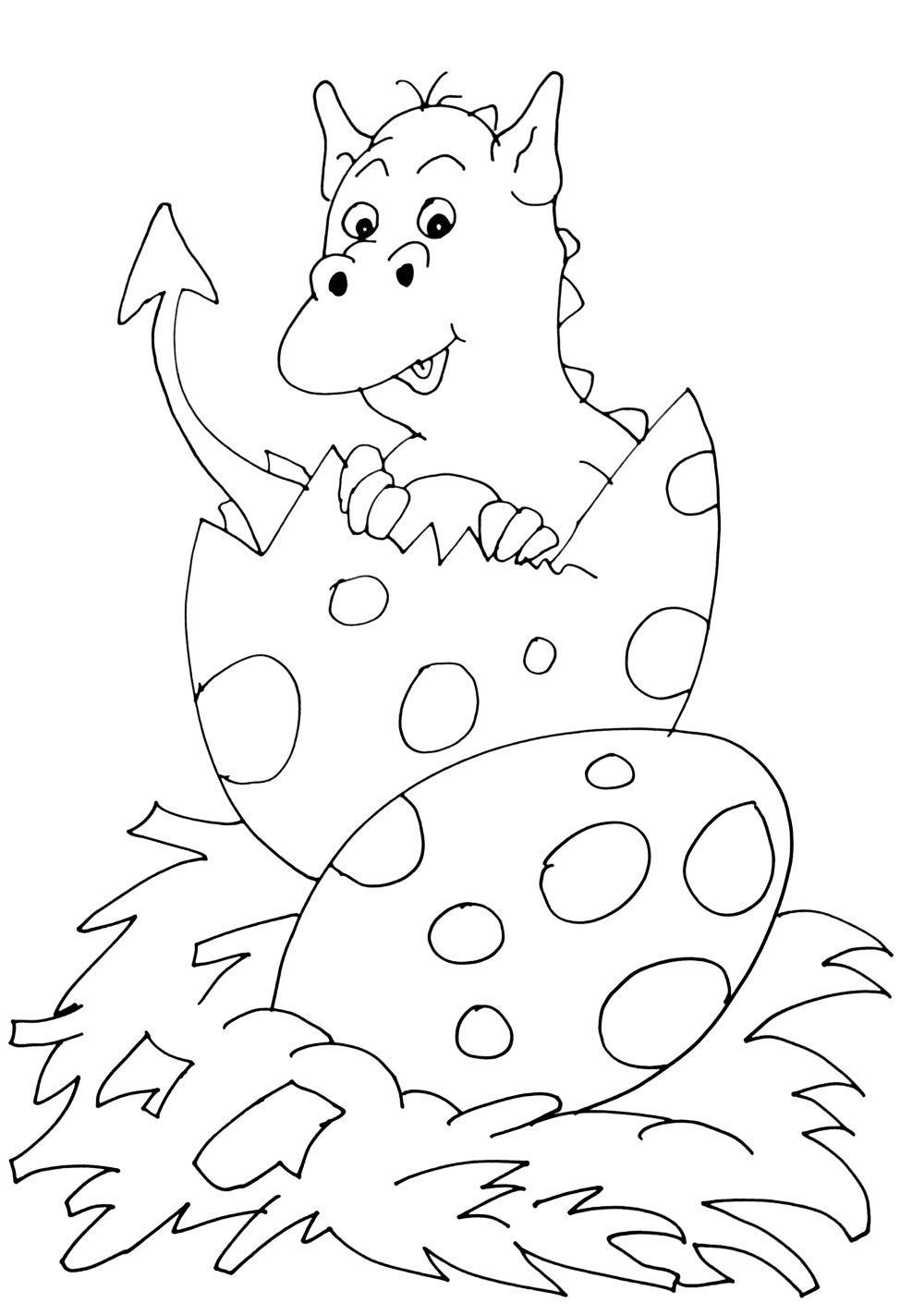 Dragon emerging from an egg | Knights & dragons coloring pages ...