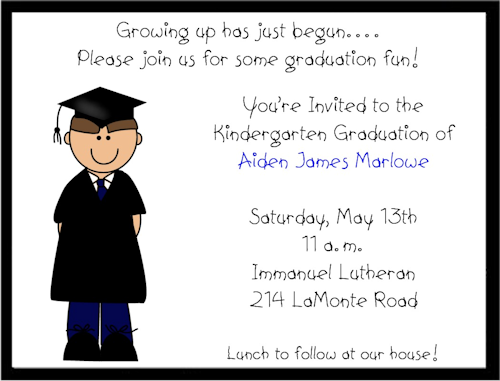 Boy PreschoolKindergarten Graduation Invitations Pre K ideas