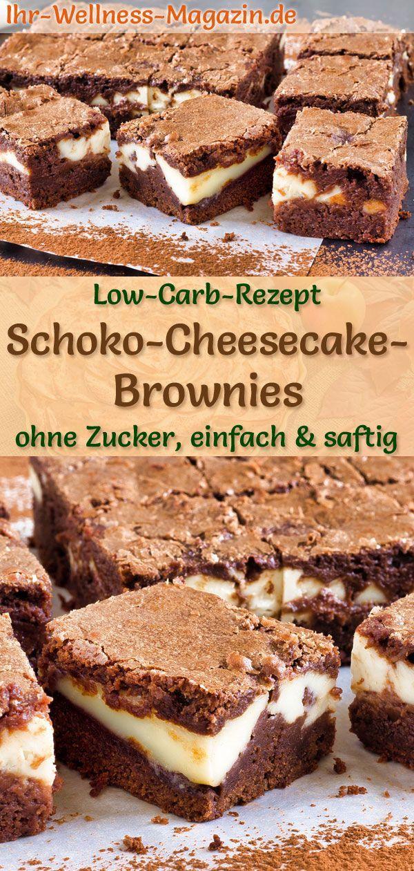 Low Carb Schoko-Cheesecake-Brownies - einfaches Rezept ohne Zucker