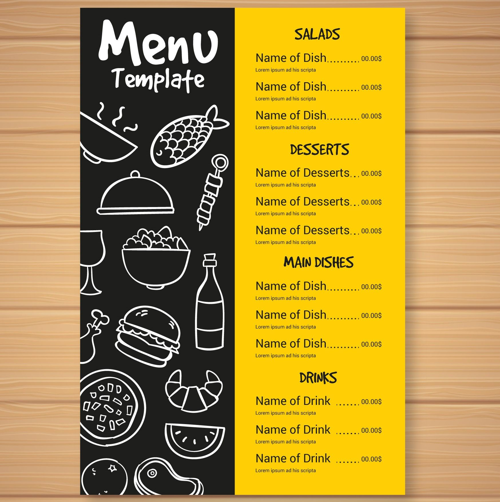 Fast Food Menu Card Foodie Menucard Menu Card Design Food Menu Template Menu Design Template