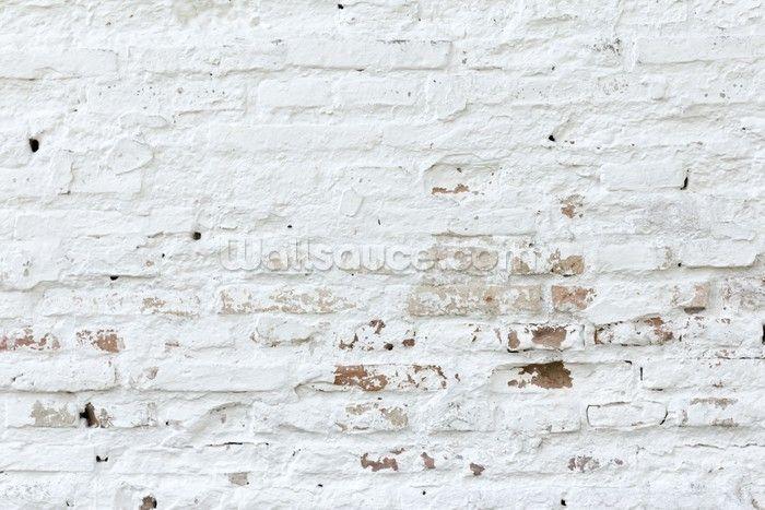 Distressed White Brick Wallpaper Wall Mural Wallsauce Canada