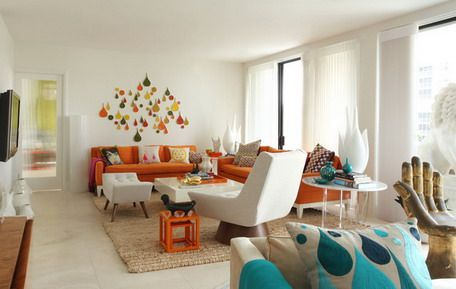 Colorful Wall Art Designs And Corner Orange Sofa Sets In Contemporary Living Room Ideas