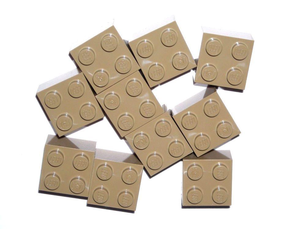 LEGO 10 Dark Tan Bricks 2 x 2 NEW #LEGO