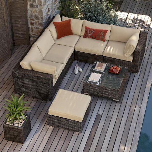 Outdoor Patio Furniture Sale Amazon: All Weather Corner Outdoor Rattan Garden Furniture Sofa