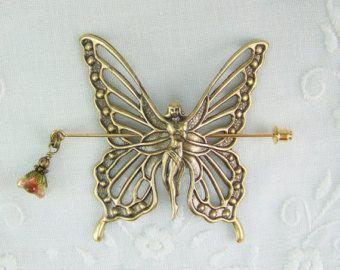 Shawl pin, Scarf pin, Sweater Pin, Butterfly fairy pin, Butterfly pin, Fairy Pin, Gold fairy pin, Golden fairy, Butterfly, Golden Butterfly