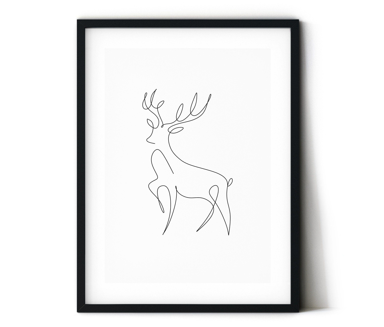 Deer Print Animal Line Illustration Line Art Personalized Art Print Deer Illustration Line Illustration