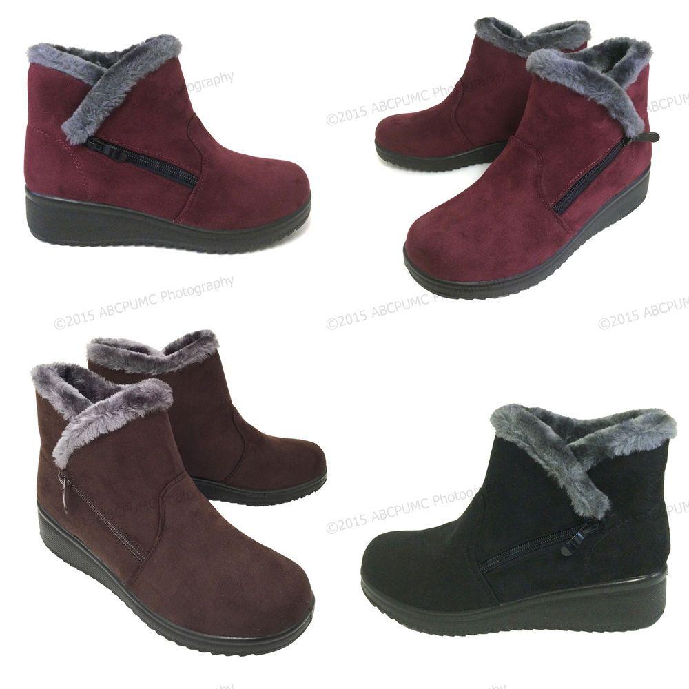 Sizes Women/'s Ankle Boots Winter Fashion Zipper Faux Suede Warm Fur Lined Shoes