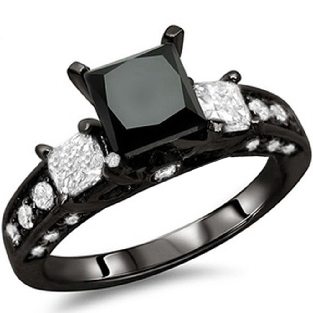 Women Size 412 Black Crystal Onyx Princess Cut Wedding Engagement