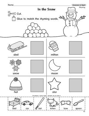 winter rhyming words elementary education pinterest rhyming words kindergarten and literacy. Black Bedroom Furniture Sets. Home Design Ideas