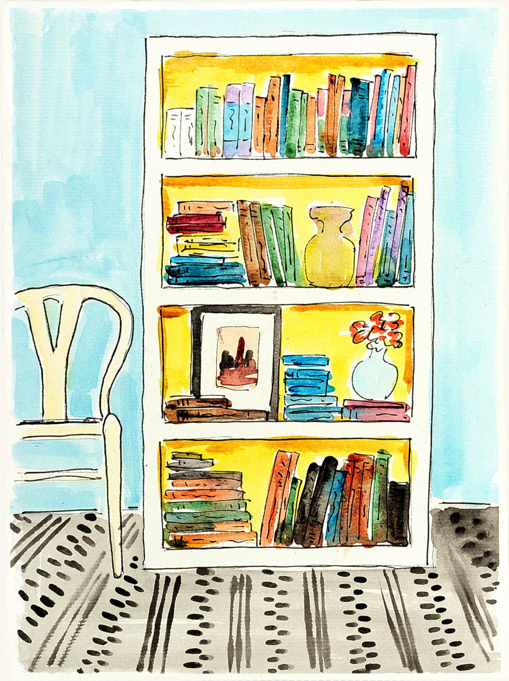 Painting Yellow Bookshelf And Wooden Chair. Wall art books.Bookshelf ...