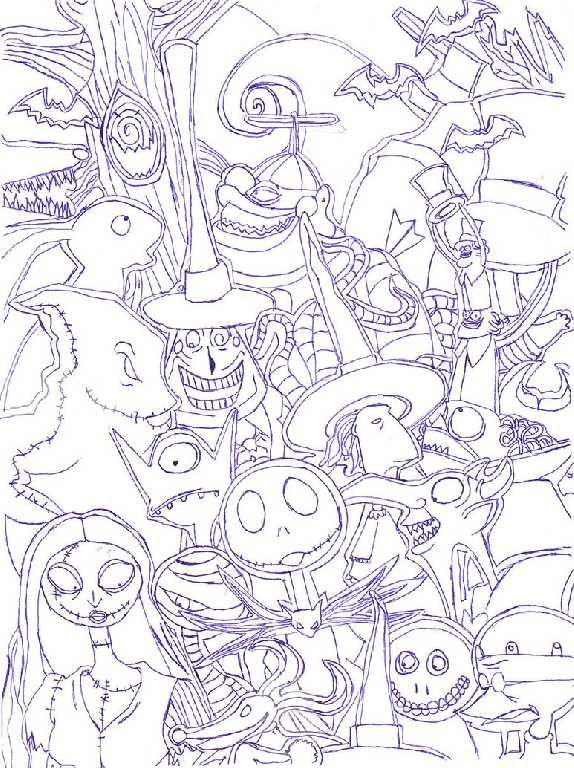 The Nightmare Before Christmas Coloring Pages The Nightmare Before