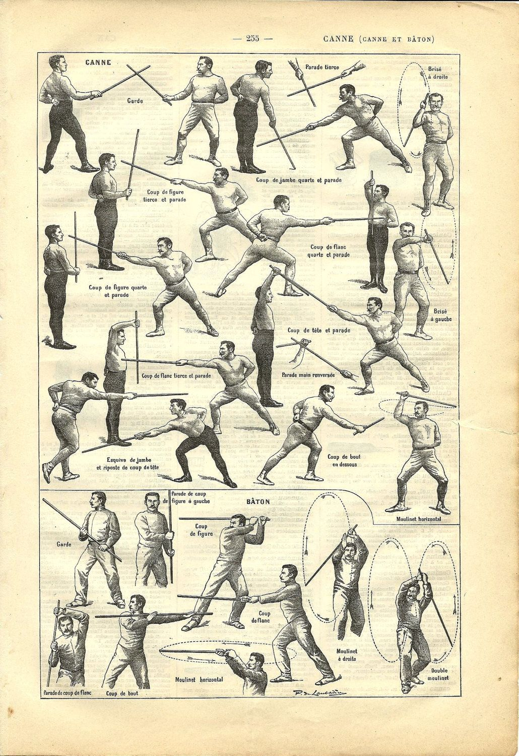 Vintage Poster Sport Stick French Dictionary Illustration Martial Arts Techniques Martial Arts Martial Art Gifts