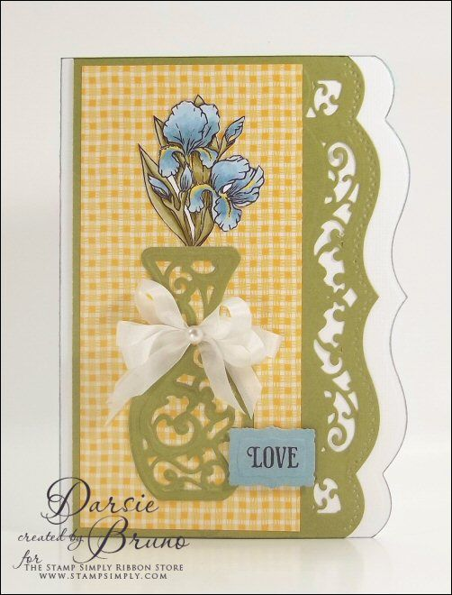card created using @Spellbinders Die D-Lites Filigree Vase ...