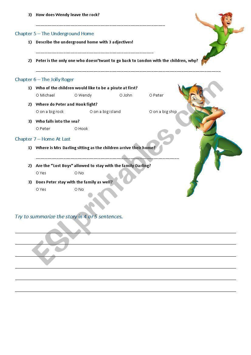 Peter Pan fairytale audiobook worksheet   Peter pan [ 1169 x 826 Pixel ]