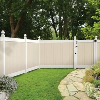 Veranda Roosevelt 6 Ft H X 8 W Two Toned White And Sand Vinyl Privacy Fence Panel Kit 73024519 The Home Depot