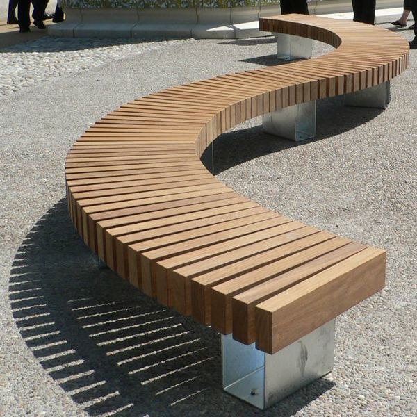 Superb Modern Park Benches Part - 12: S-Shaped Seat: Clifton Park Rotherham - Woodscape Street Furniture