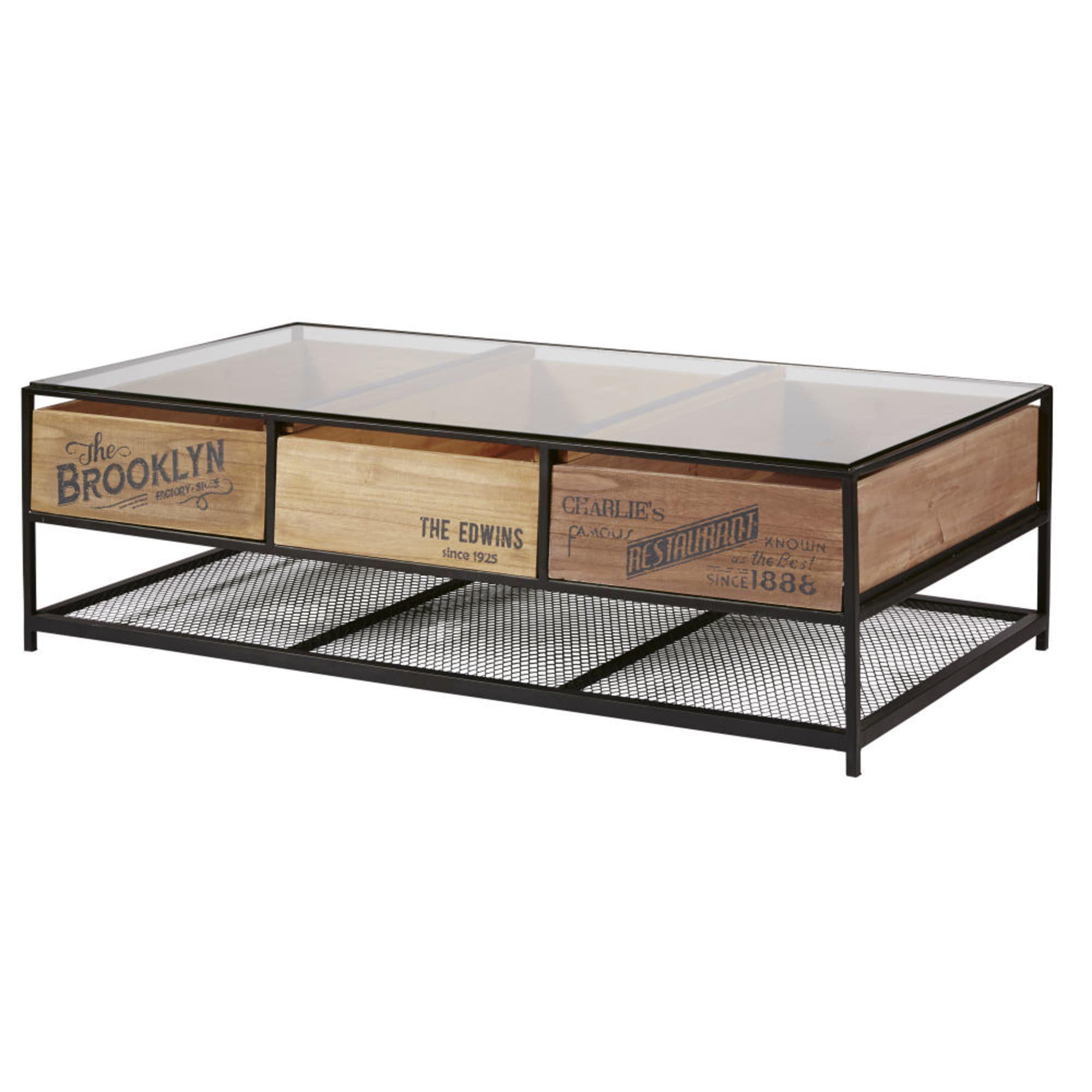 table basse indus 3 tiroirs en verre et