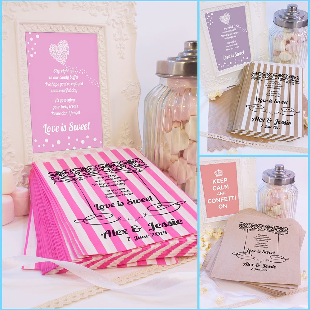 Personalised Wedding Sweet Bags LOVE IS SWEET POEM BORDER Candy Cart ...