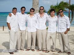 White Attire For Men Groomsmen Beach WeddingCasual