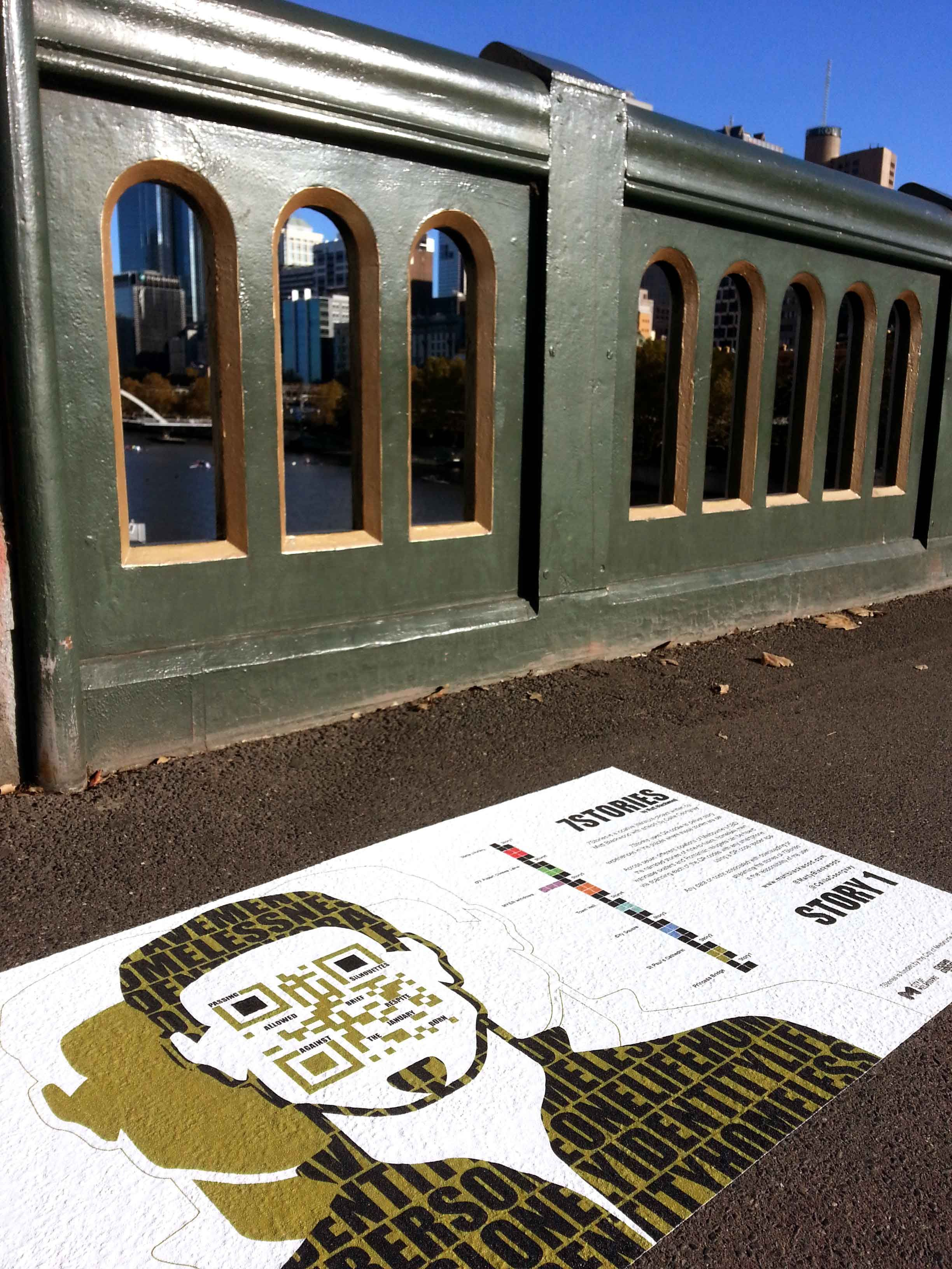 Matt Blackwood's series of QR codes in Melbourne called 7 Stories can be found printed on the paving slabs.