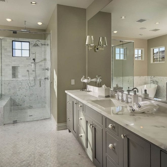 Greige Bathroom With Grey Vanity And Curbless Walk In Shower Flooring Is Hex Kacy Polished Marble Light