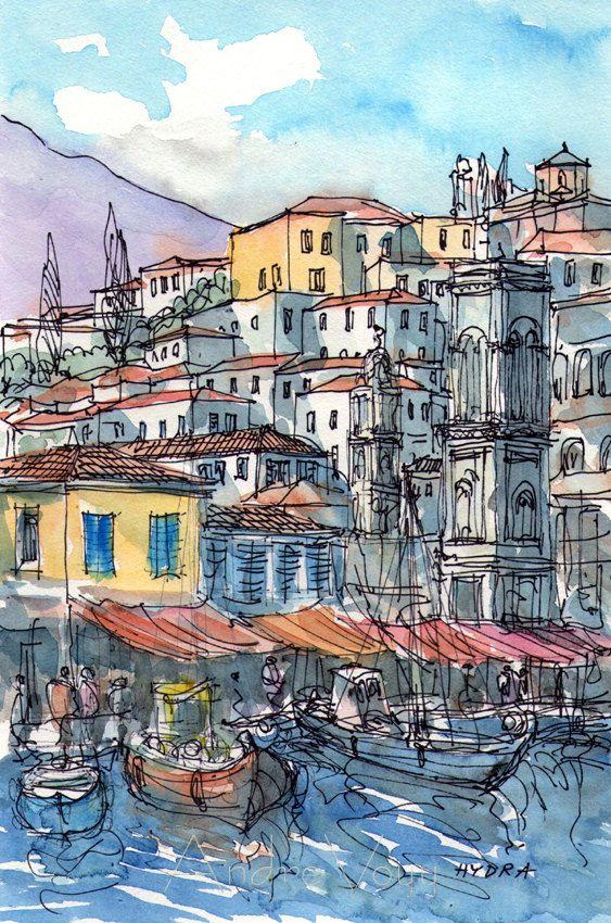Hydra port 1greece art print from an original watercolor - Impression photo gratuite sans frais de port ...