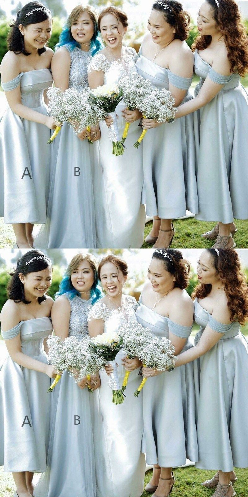 05f47fcd483e chic off shoulder bridesmaid dresses, simple fashion party dresses, elegant tea  length wedding party gowns.