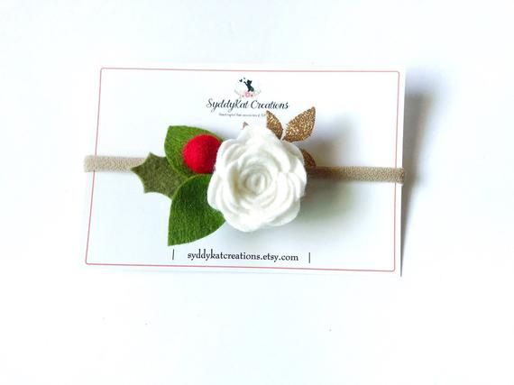 White and Red Felt Flower Headband, Girl's Flower Crown, Photo Prop #feltflowerheadbands