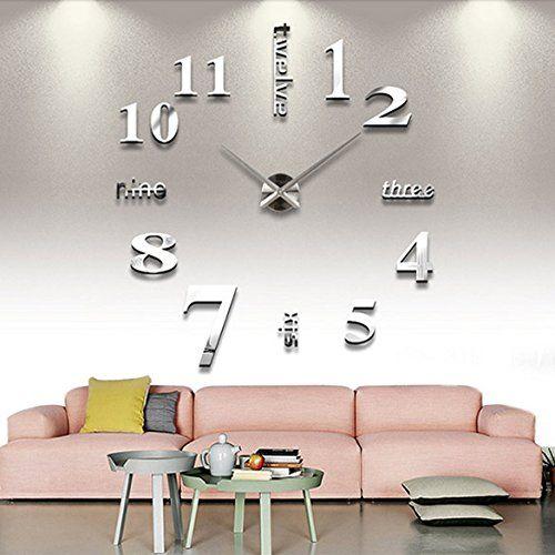 Große Wanduhren anself diy grosse wanduhr 3d spiegel aufkleber wandtattoo dekoration