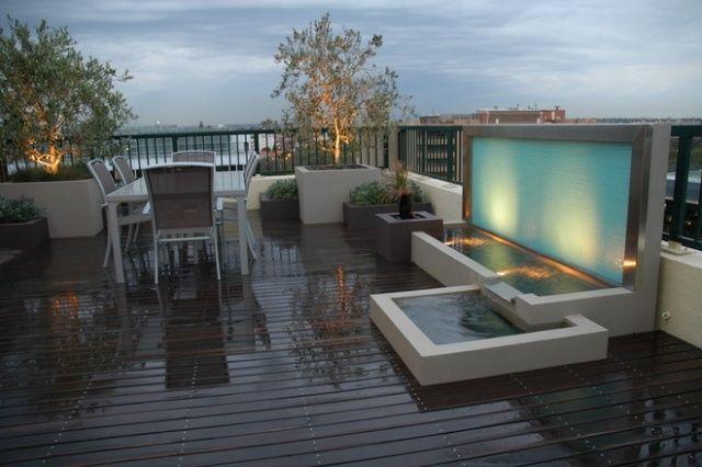 Dachterrasse Design Gestaltung Wasseranlage Brunnen Ideen H20