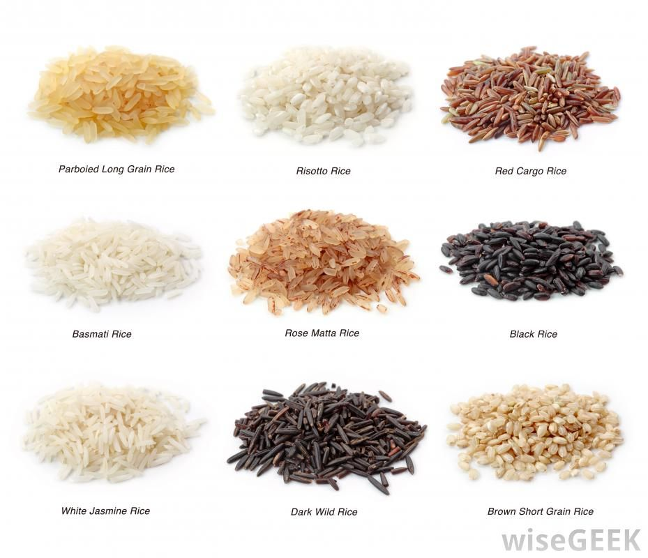 Different types of rice including white jasmine rice