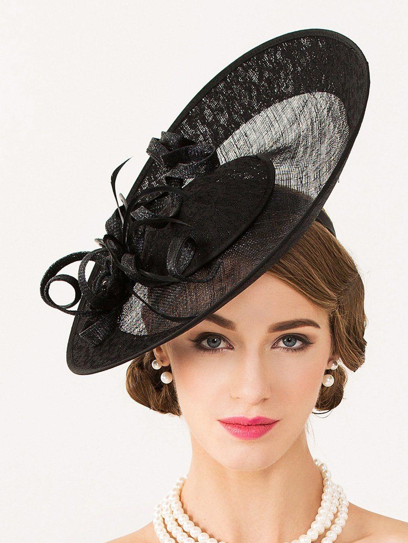 Sororal Party Flower 1940s Linen Fascinator Hat - BLACK 18914334702