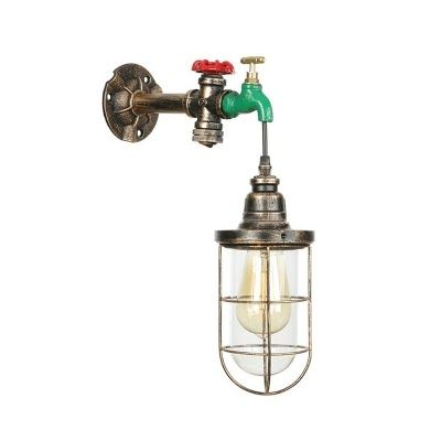 Photo of Faucet Light Fixture Metal Caged Wall Sconce With Faucet Decoration Industrial …