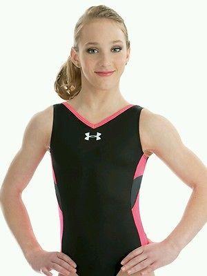 9378b53a8c51 New Gymnastics Bodysuit Leotard Under Armour Black Pink 6319 Child Large  10-12