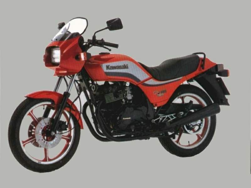 GPz 305 Belt Drive, 1983 - I had one for several years, but it was chain driven. I loved the feel of it under me. With a modified 2 in 1 KERKER she was a real kicker. Had lots of fun on her. She wasn't as quick as the RD350 or RZ350 but she could hold her own. I could manage to get 160kms out of her. No carb mods done.