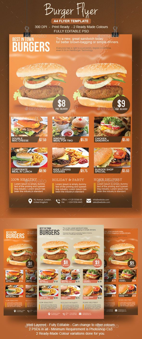Burger Flyer Template  Flyer Template Burgers And Template
