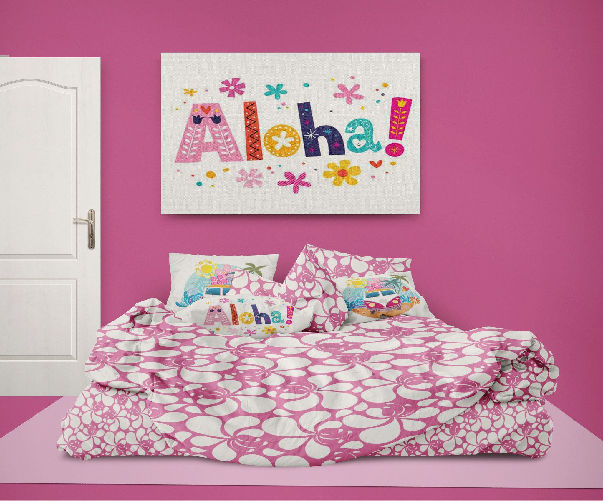 Pink Hibiscus Girls Hawaiian Comforter From Surfer Bedding Bedding
