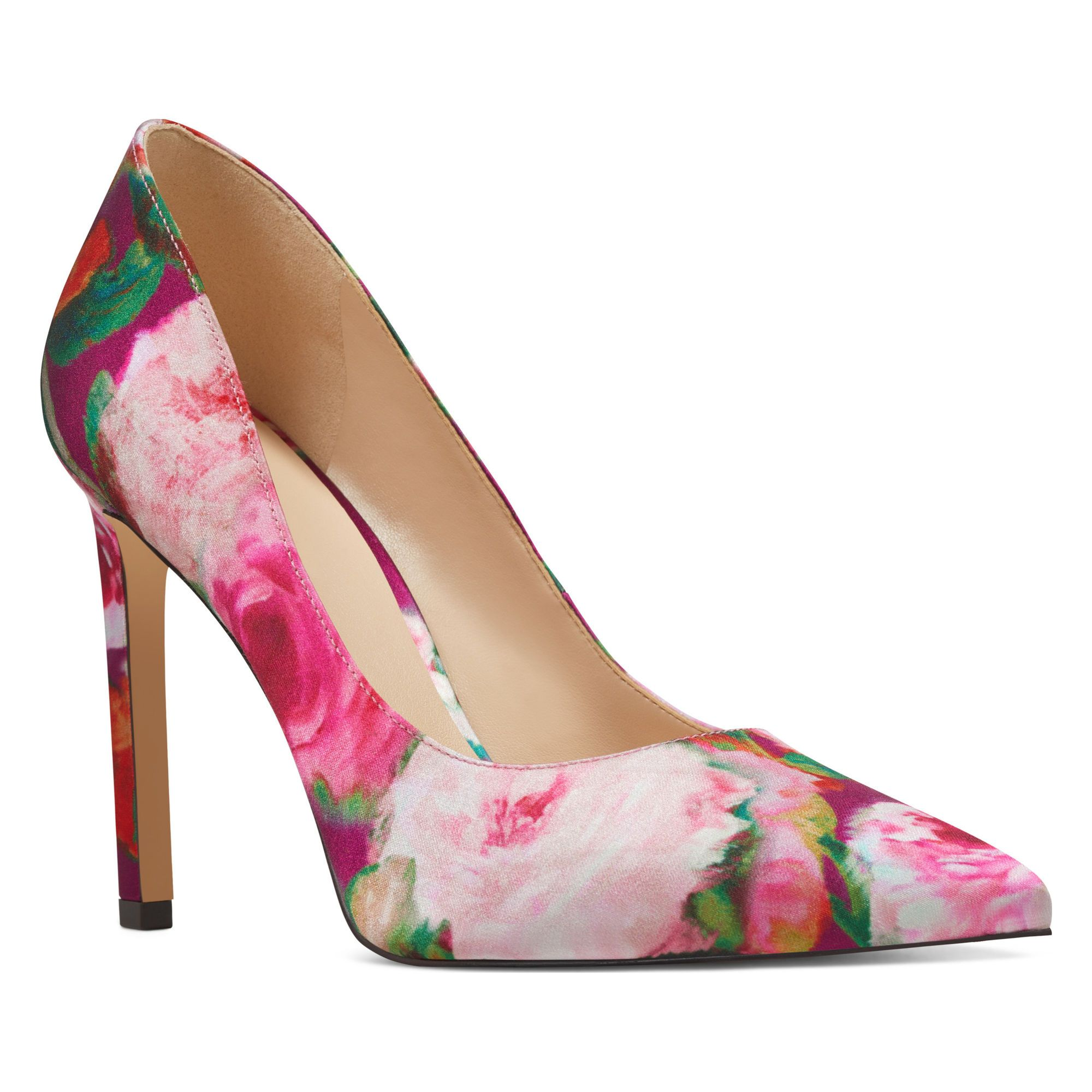 701397c6858 Pink Silk Watercolor Nine West pumps