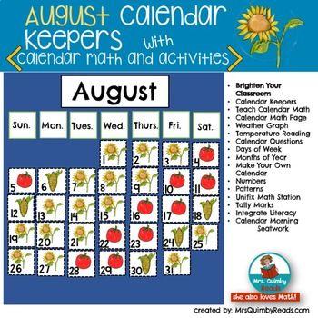 August Calendar Math and Activities Calendar Pocket Chart Keepers
