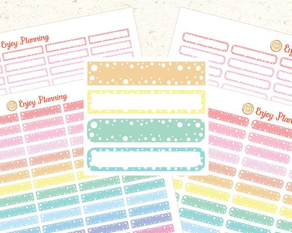 Printable Planner Stickers Printable Blank Planner Stickers MAMBI Stickers Erin Condren Planners Digital Pastel Stickers Rainbow stickers