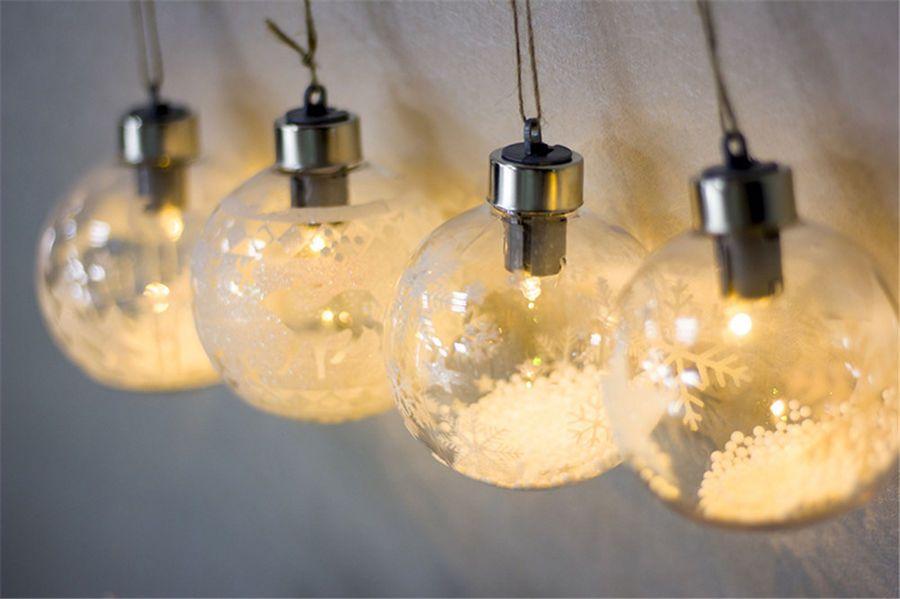 1pc Christmas Lighting Pendant Ball Warm Light Xmas Tree Ornament