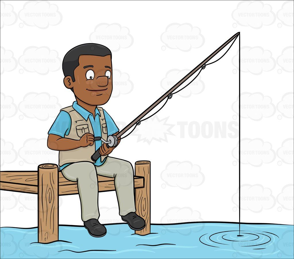 A Black Man Patiently Waiting To Catch A Fish Fish Puzzle