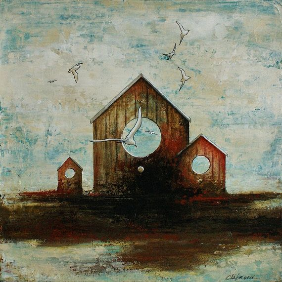 Home Decorative Item Painting Brilliant Original Acrylic Painting 12X12 Inches Bird Houses Image . Review