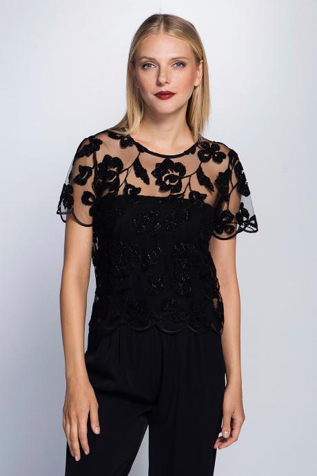 Flok Dantel Bluz Siyah Giyim Moda Kadin Giyim