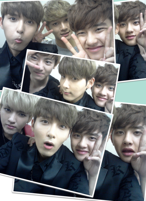 Ryeowook with EXO's kris, d.o, chanyeol, chen