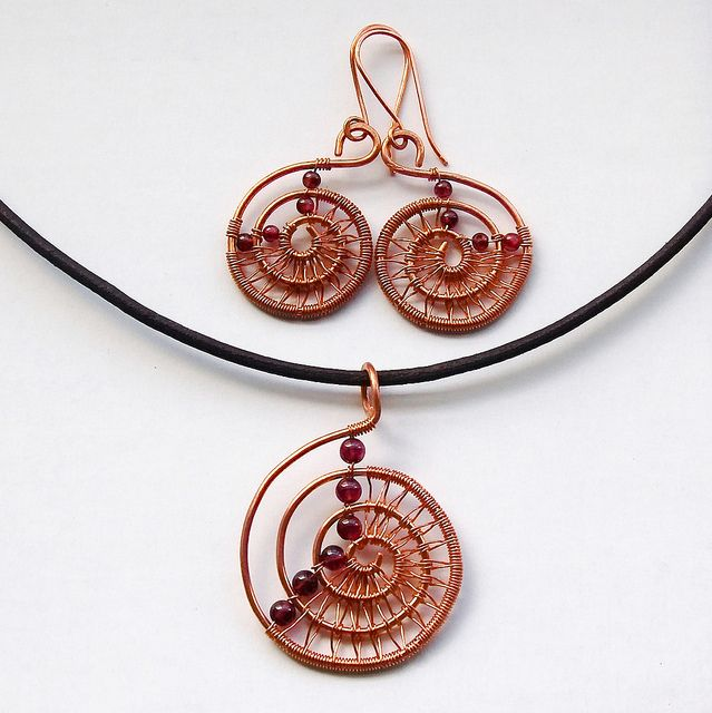 Copper spirals with garnet | Bead earrings, Spiral and Wire wrapping