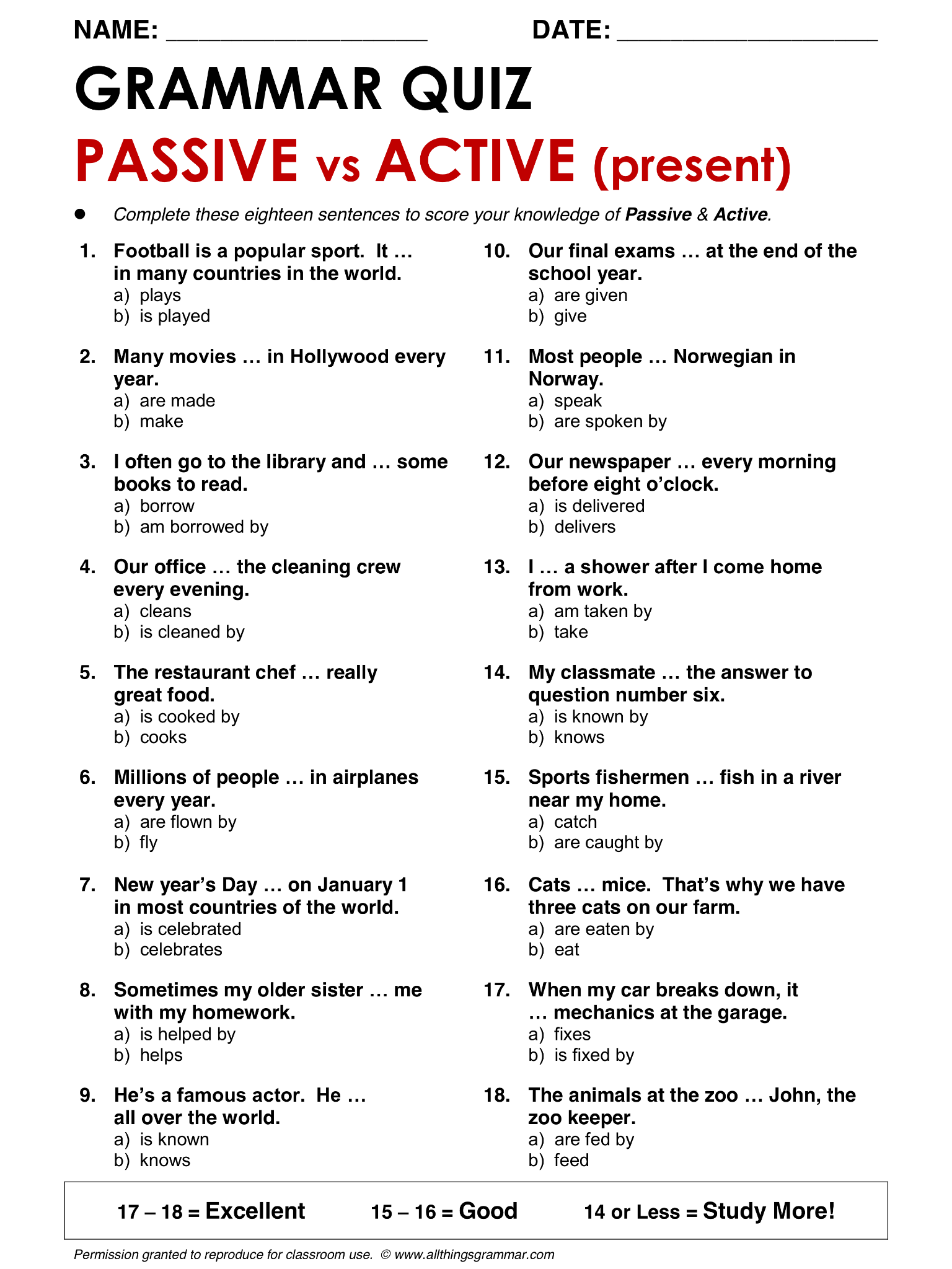 Active And Passive Voice Worksheet With Answers Image Search ...