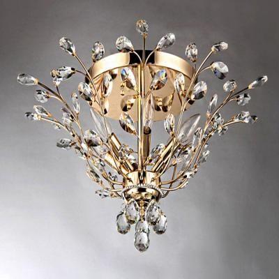 Warehouse Of Tiffany Ava 6 Light Gold Indoor Crystal Flush Mount